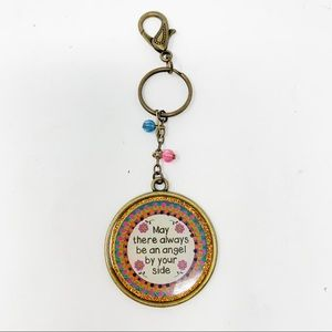 Natural Life Antique Gold Glitter Angel Keychain